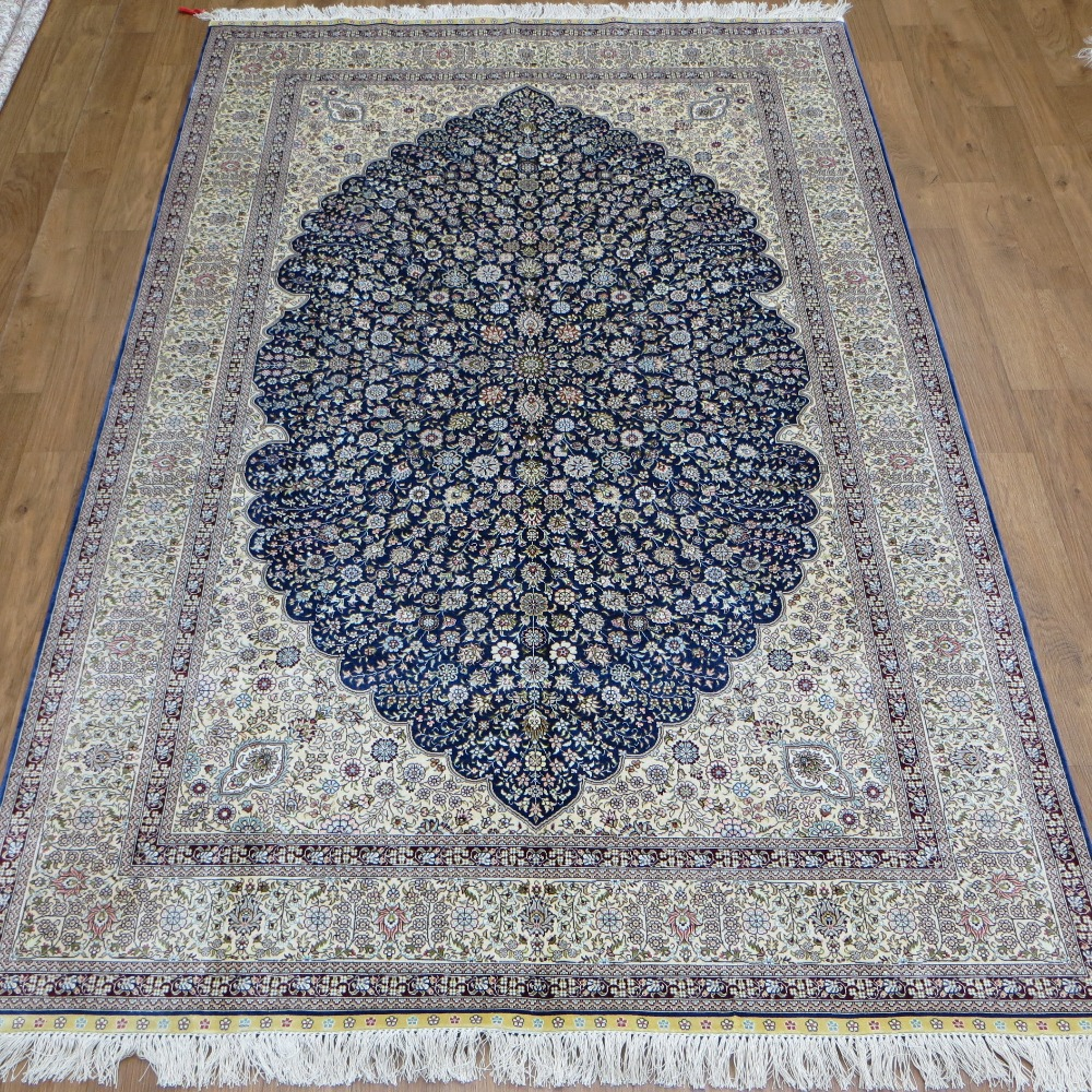 Blue Handmade Silk Carpet Hand Knotted Oriental Area Rug Persian Design Home Decoration 520A In From Garden On Aliexpress