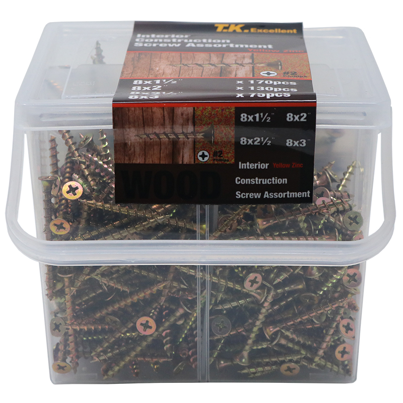 T.K.EXCELLENT 465 Pcs Carbon Steel Wood Interior Construction Wood Screws Yellow Zine Plated Phillips Flat Drywall Screws