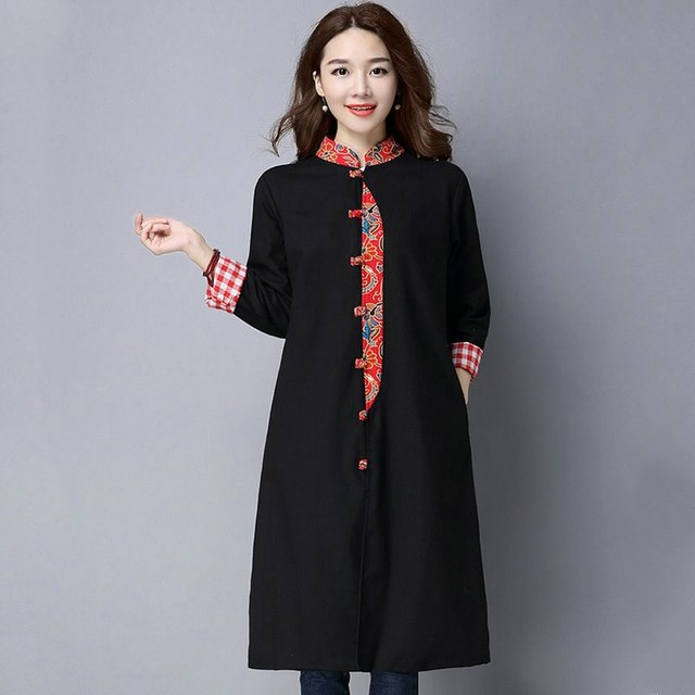 Autumn Spring Fashion Casual Black Overcoat Women Fashion Long Trench Chinese Style Button Femme Slim Coats