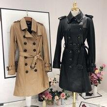 Кожа, овчина версия Длинная кожаная куртка для женщин Повседневная кожаная ветровка