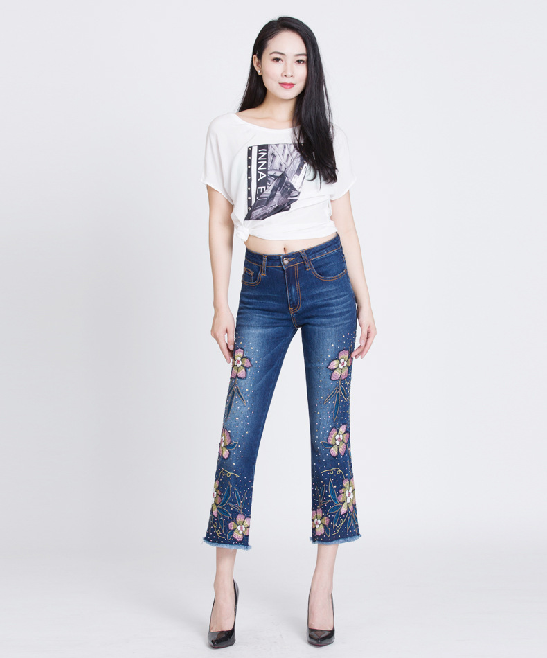 KSTUN Womens Jeans Flare Pants Stretch Slim Fit High Waisted Sequin Embroidered Floral Denim Sexy Ladies Push Up Big Size Mujer 11
