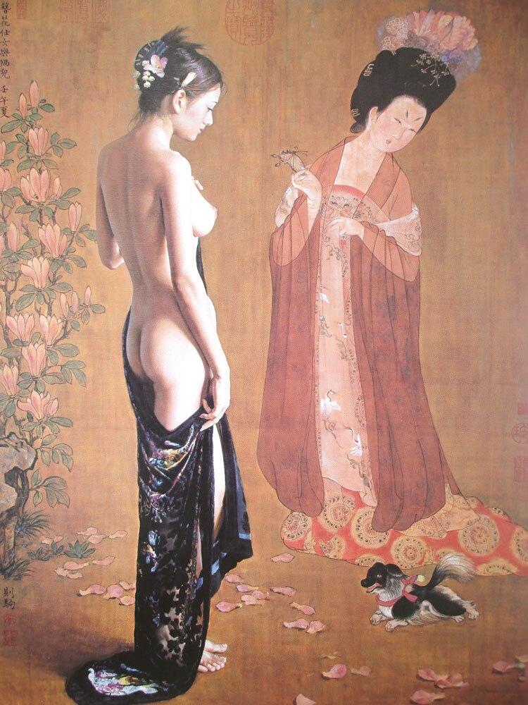 Peinture en gros #2019 TOP maison bureau bière BAR CLUB décor ART # NUDE art oriental Geisha femme arrière peinture sur toile #32