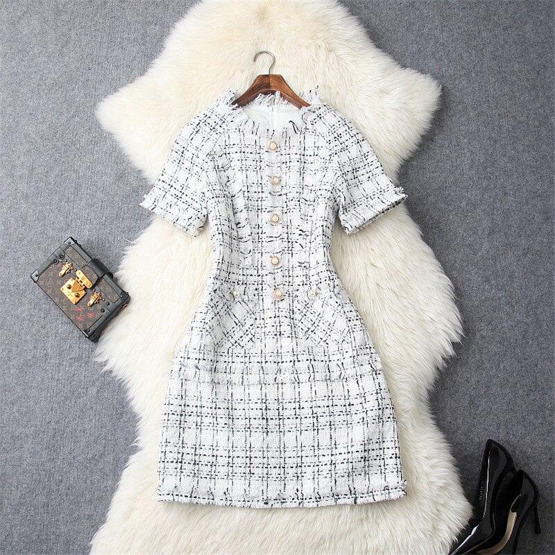 Tweed 2019 Robes Robe D'automne Marque Plaid Pour Femmes D'hiver Laine Nouvelle Piste De Noir Supérieure Les Qualité Mode Designers blanc qP8xnawIt