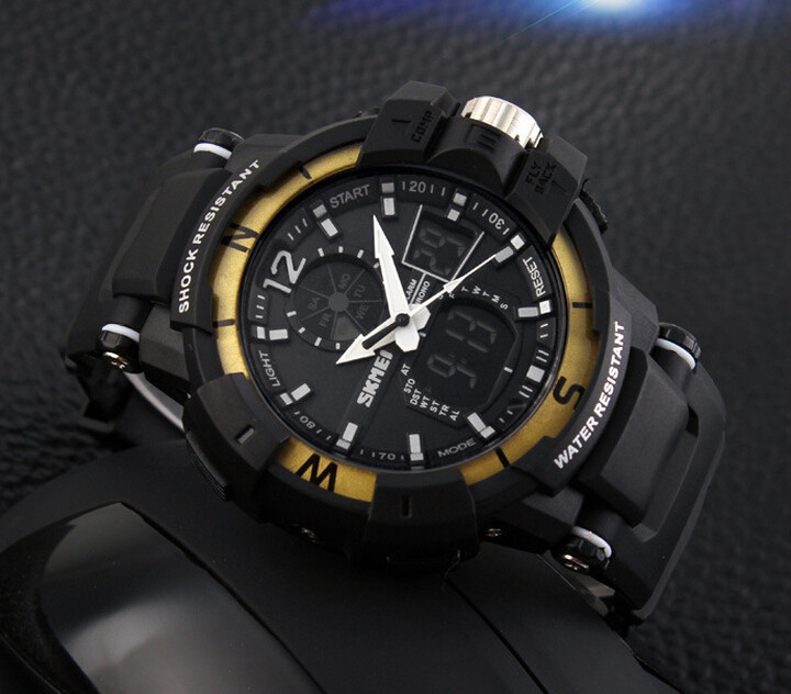 SKMEI 1040 Men LED Digital Quartz Military Watch Yellow