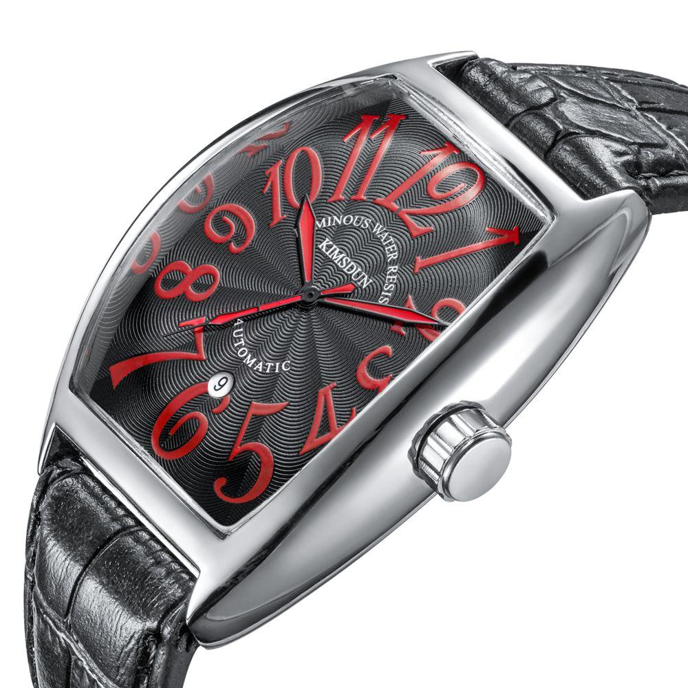 цена на 2018 Luxury Brand Business Tonneau Mechanical Watch Men Waterproof Leather Automatic Self-Wind Wrist Watch Men relojes hombre