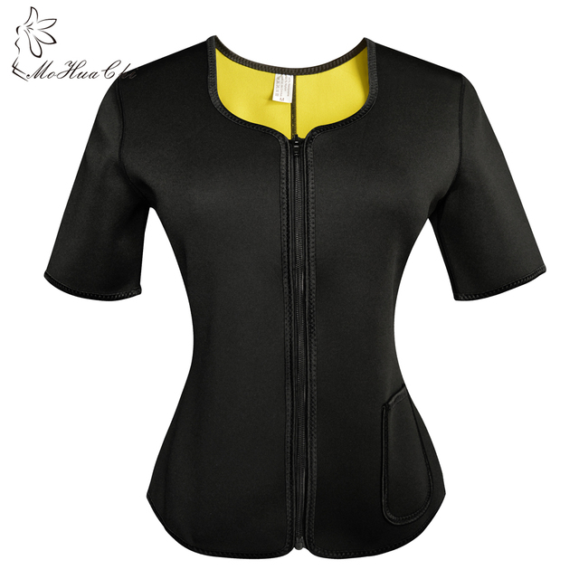 50758136e2 Neoprene Waist Trainer Sweat Body Shaper Shirt Hot Shapers Thermo Slimming  Sauna Suit Weight Loss Black Shapewear with Sleeves