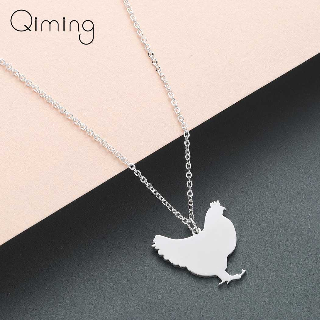 Stainless Steel Chicken Animal Necklace Women Girls Children Gift Wholesale Jewelry Hen Farm Gold Pendant Necklace