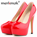 New 2016 Womens Sexy Shiny High Heels Red Wedding Party Shoes Platform Heels Patent Leather Pupms Shoes For Woman Good Quality
