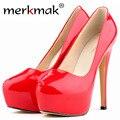 Novo 2016 Womens Sexy Brilhante Festa de Casamento Sapatos De Salto Alto Vermelho sapatos Plataforma Pupms Couro Saltos Patente Sapatos Para Mulher Boa qualidade