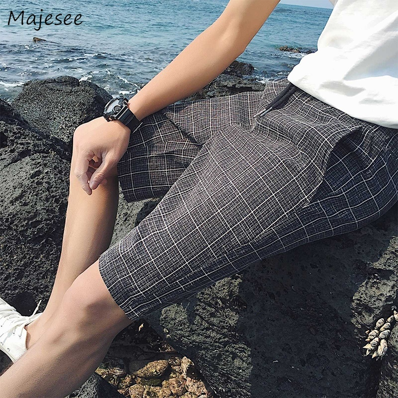 Casual Shorts Pockets Streetwear Knee-Length Korean-Style Male Mens Chic Plaid Lace-Up