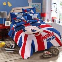 Disney Mickey Mouse Bedding Sets Queen King Size Cartoon Duvet Cover Quilt Cover Pillowcase Bed Sheet Bed Linen Set