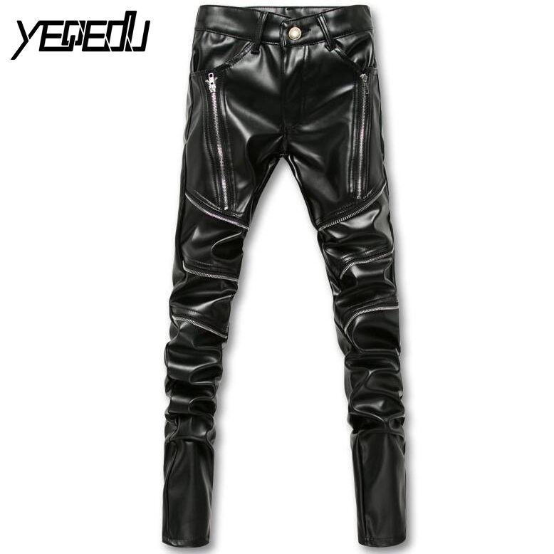 ୧ʕ ʔ୨ 2222 2017 Casual Genuine Leather Pants Men Fashion Skinny