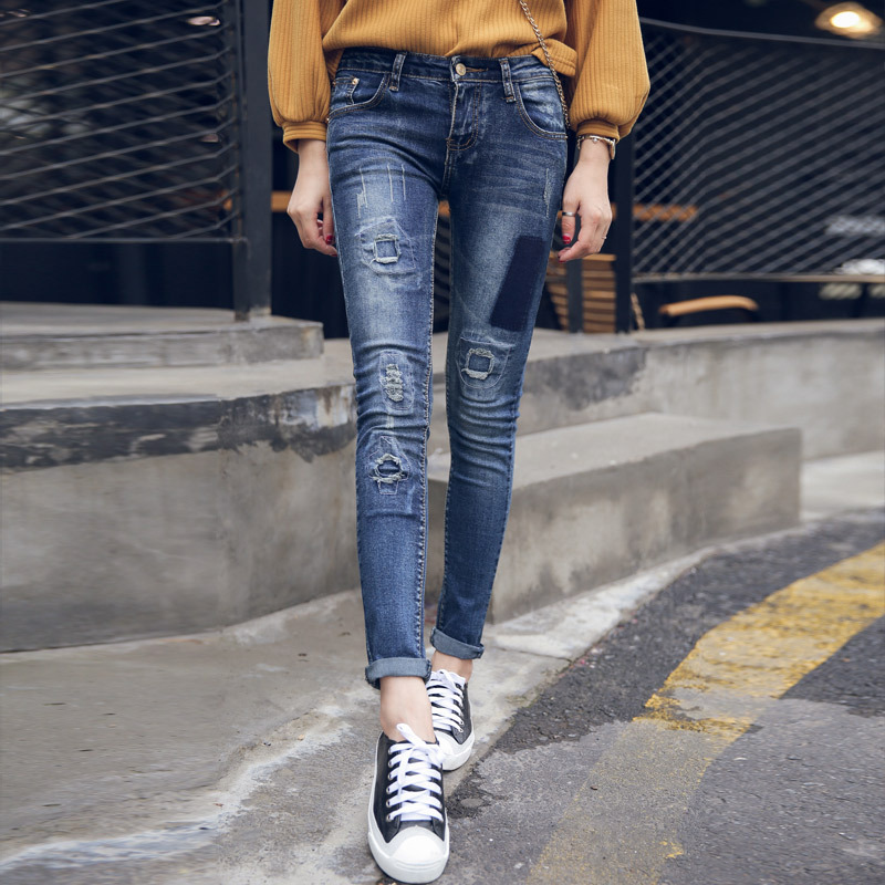 The new spring and summer 2016 Korean women grab hole patched jeans denim trousers cultivation pattern of personality