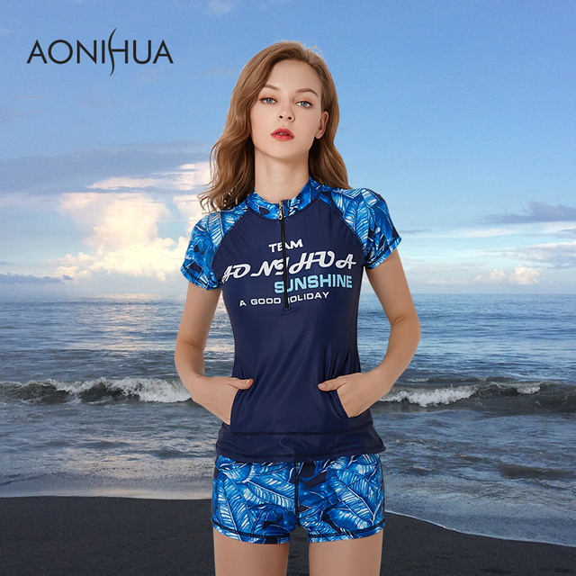 8166168722 AONIHUA Swimwear Plus Size Printed Short Sleeve Tops And Boyshorts S-4XL 2  Piece Large Size Women Swimsuit Surfing Bathing Suits