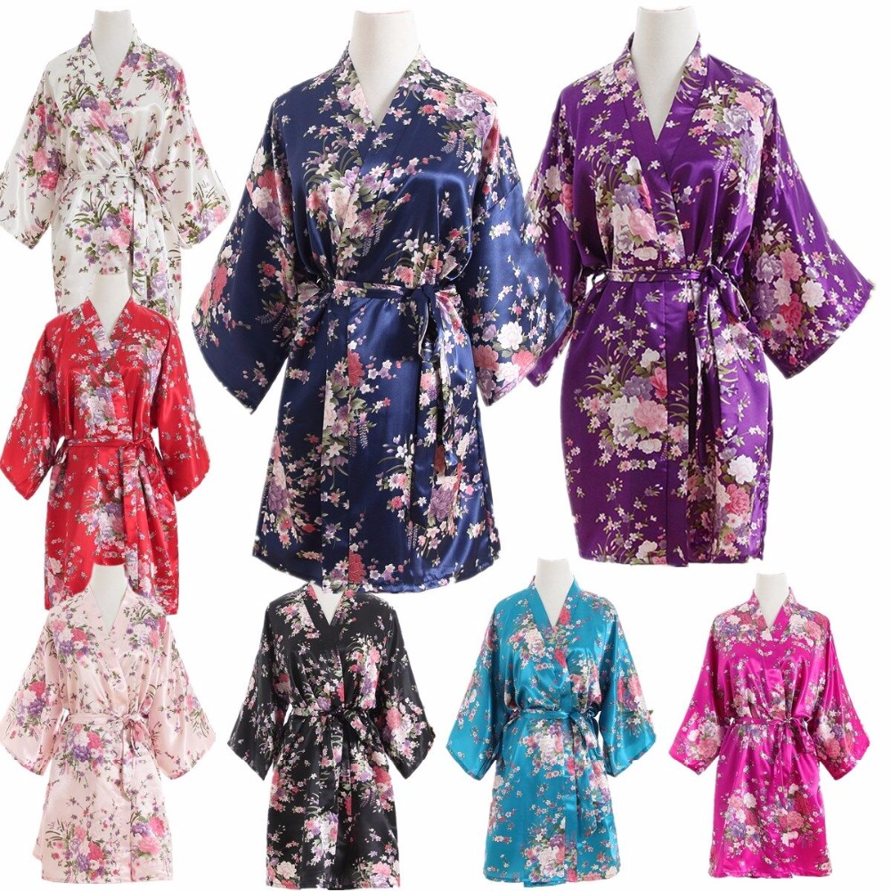 Hot Silk Satin Wedding Bride Bridesmaid Robe Cherry Floral Bathrobe Short Kimono Robe Night Bath Robe Dressing Gown For Women(China)
