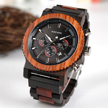 BOBO BIRD 51mm grande taille hommes montre bois luxe chronographe montre-bracelet qualité Quartz mouvement calendrier Relogio Masculino J-R15