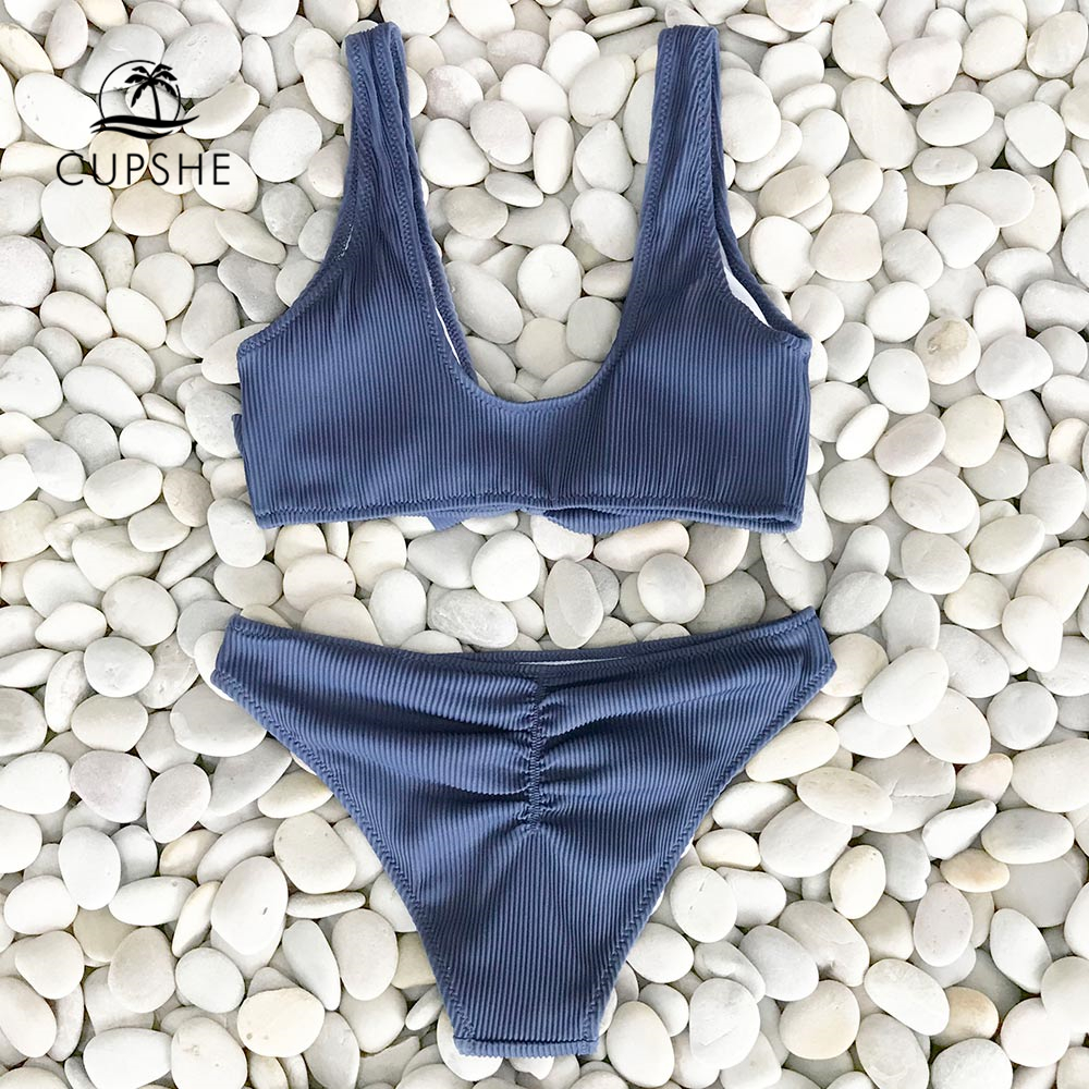 CUPSHE Deep Love Solid Bikini Set Women Blue Summer V-neck Bow Thong Two Pieces Swimsuit 2020 Beach Bathing Suit Swimwear 1