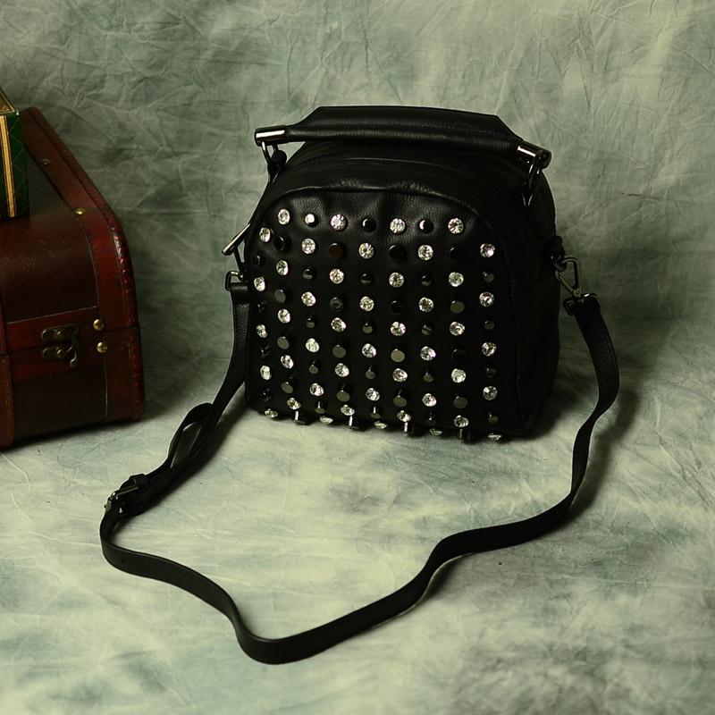 KZNI Brand New Fashion Genuine Leather Handbags Stud Women's Handbag Rivet Ladies Shoulder Bags Black 1301
