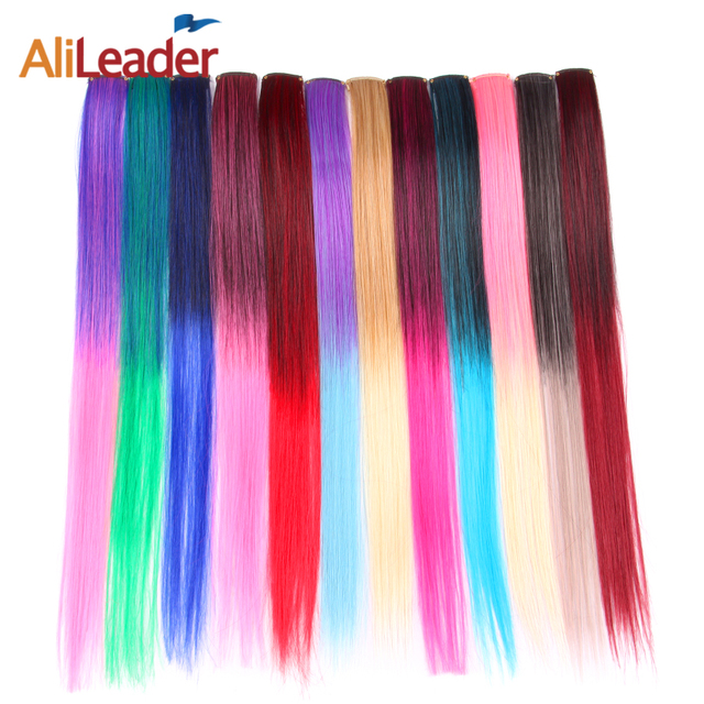 Alileader Kanekalon Hair Extensions Clip In Fake Hair Ombre Color