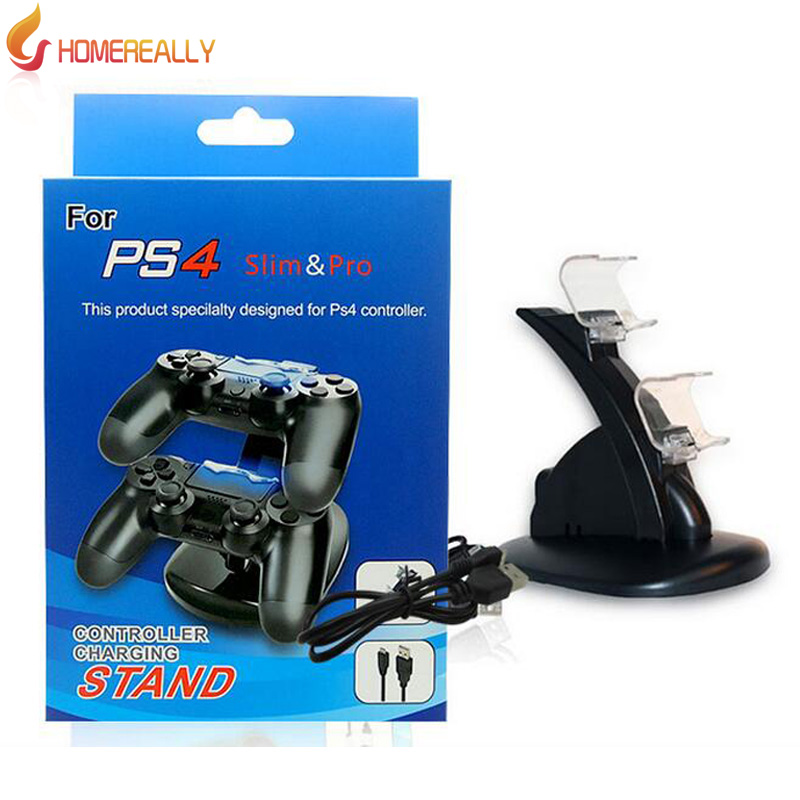 HOMEREALLY Black USB Dual PS4 Charge Dock Stand Support Holder Charging For Sony Playstation 4 Game Wireless Controller