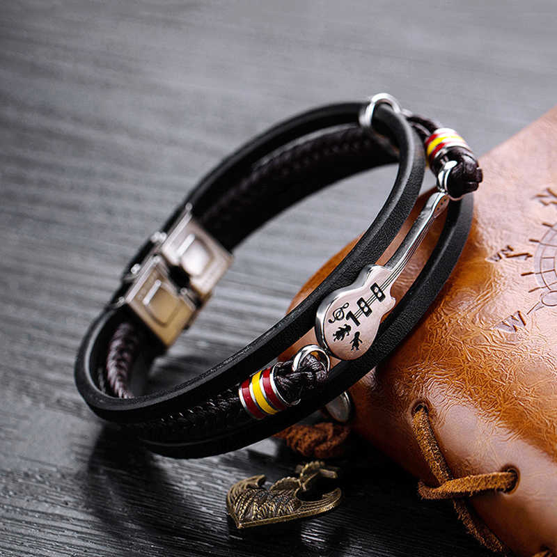 Vintage Men Bracelet PU Leather Punk Guitar Multi Layer Woven Rope Bracelet Stainless Steel Bangle Gift Mens Jewelry Accessories
