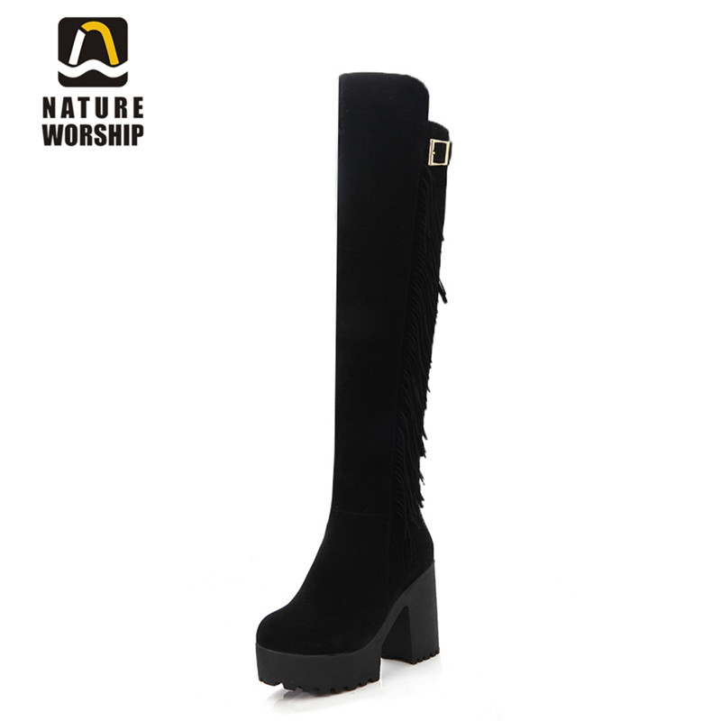 Nature Worship New Fashion Over Knee Winter Boots High Heels Shoes Women Freige Shoes Platform Square Heels Warm Boots Big SizeNature Worship New Fashion Over Knee Winter Boots High Heels Shoes Women Freige Shoes Platform Square Heels Warm Boots Big Size