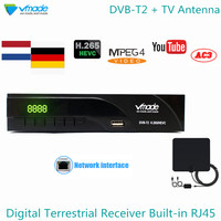 Vmade DVB T2 H.265 Built RJ45 Network HD Digital Terrestrial Receiver + Indoor TV Antenna Support Youtube Dolby AC3 Set Top Box
