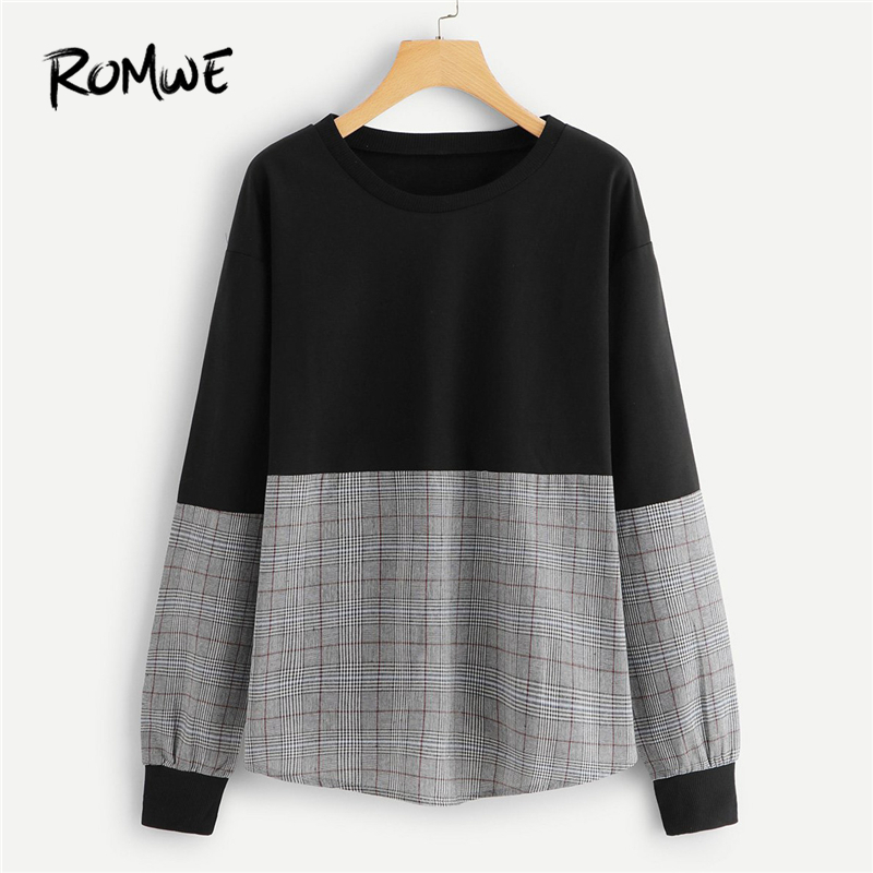 ROMWE Tartan Plaid Contrast Women Sweatshirt Long Sleeve Pullovers  Patchwork Womens Clothes Autumn Casual Sweatshirts