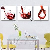 3 Pannello Modern Wall Hanging Pittura A Olio di Arte Immagine Cena Ristorante Camera di Vetro di Vino Rosso Tela Pittura Decorativa No Frame