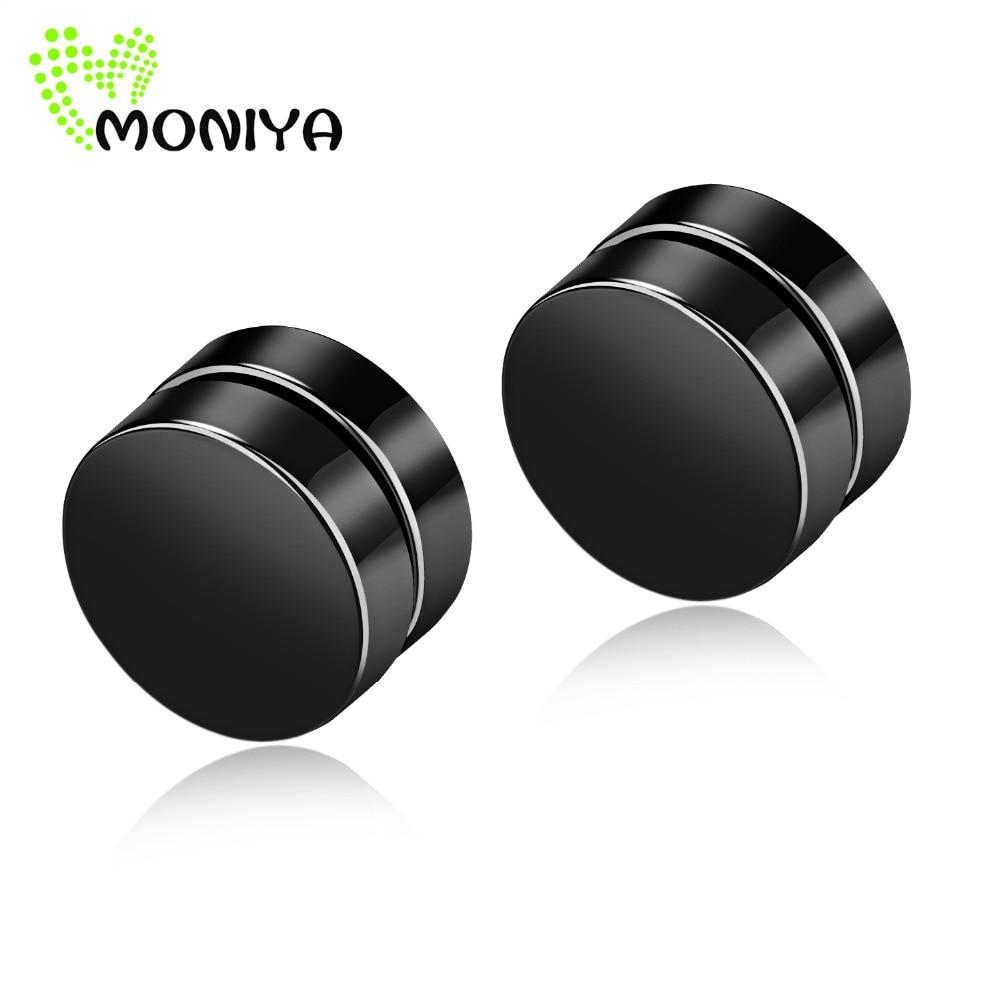 Moniya Stainless Steel Round Magnet Earring Men Women Non Piercing Fake Ear  Plugs Gauges Punk Rock Jewelry Silver Black Gold 348