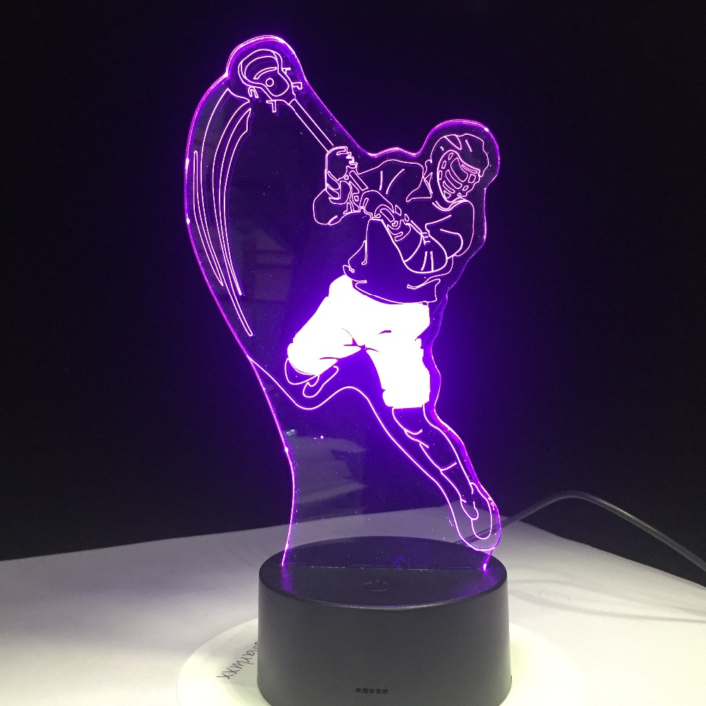 Ice Hockey Sports Modelling 3D Table Lamp 7 Colors Change LED Night Light USB Bedroom Sleep Lighting Sports Fans Gift Home Decor 3d luminous ice hockey player shape led table lamp 7 colors changing home living room decor light fixture baby sleep night light