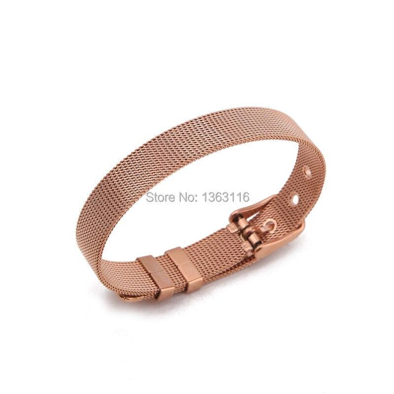 Somsoar Jewelry Charm Bands Stianless Steel Mesh Bracelet Mesh Rose Gold Bangle Bands Fit DIY Slide Charm 1pcs