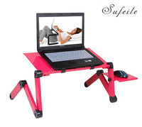 SUFEILE Laptop Stand MultiFunctional Folding Laptop Table Fan Desk Bed Sofa Tray 360 Rolling Adjustable Notebook