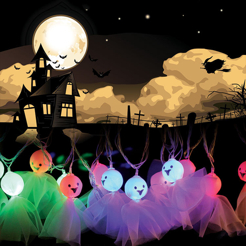 4M 16LEDS Ghost Shape Colorful String Lights Hallowen Fairy Party Wedding  Patio Christmas Indoor/Outdoor Decoration P20
