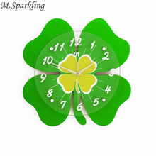 M.Sparkling Four Leaf Clover Wall Clock LucKY Flower Wall Decorate Nature Style Green Flower Glass and Wooden Watches Chriatmas