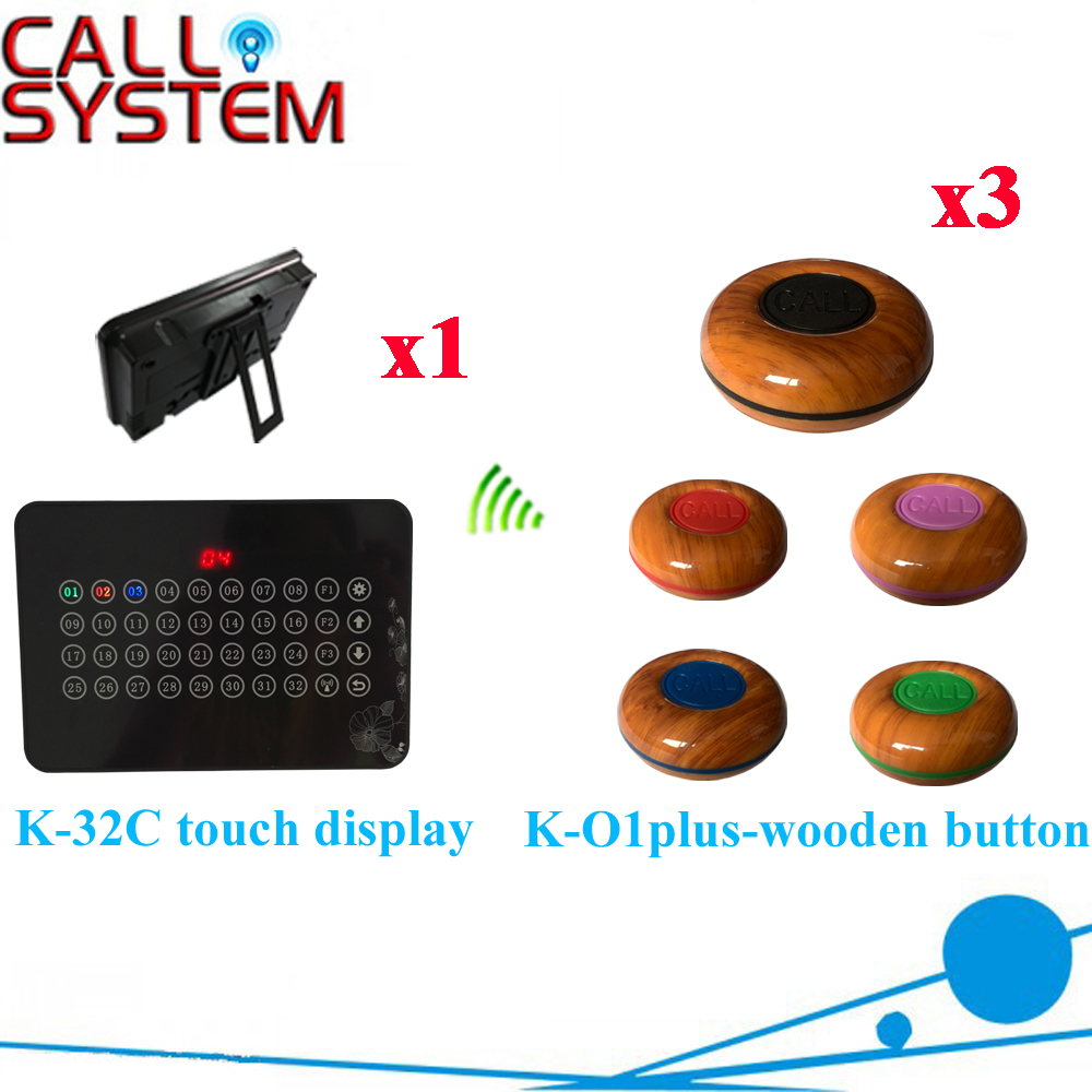 Restaurant Wireless Service Calling System 32 Roads Touch Receiver Guest Restaurant Pager For Hotel( 1 display+ 3 call button ) waiter restaurant guest paging system including wrist pager watch call bell button and display receiver show customer service