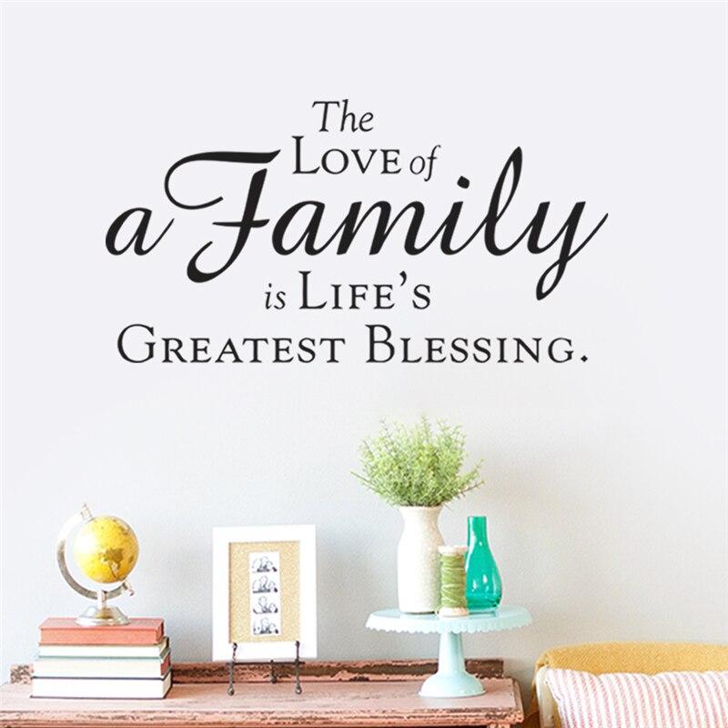 Любовь семьи жизни Greatest благословение котировки домашнее украшение Стены Наклейки Спальня DIY Винил Искусство черный наклейки