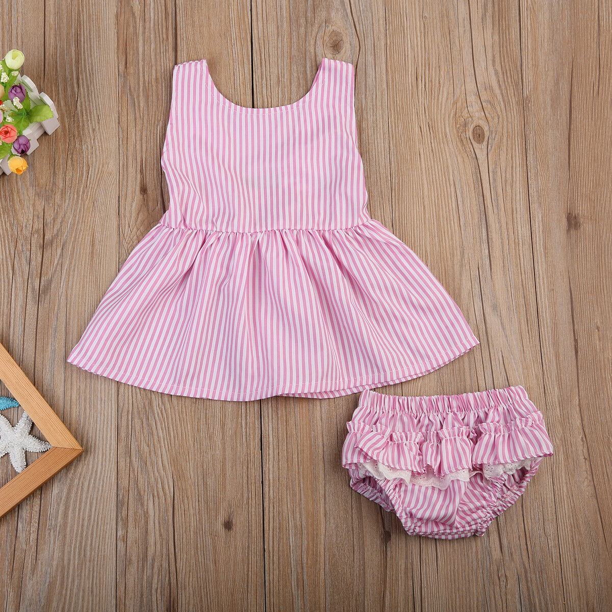 2PCS Baby Girl Striped Bow Tutu Dress Tops+Shorts Pants Summer Outfit Clothes