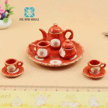 1:12 Кукольный Миниатюрный фарфоровый китайский красный керамический чайник китайский набор