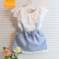 2016 Summer New Children Dress Girls Ladies Wind Lace Round Neck Fake Two Bow Strap Dress Denim color Dress