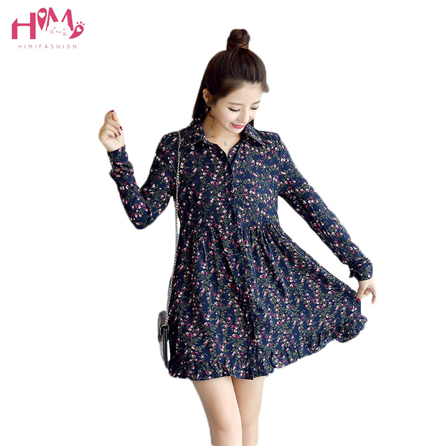 a627945dbd60 New Collection Autumn Loose Stand Collar Floral Dress All-match Lady Korean  A-Line Dress For Female Long sleeve Big Size Dress