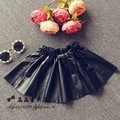 kids skirt for girls costumes 2015 girls  leather skirt black  brand high quality fashion clothes ball gown tutu