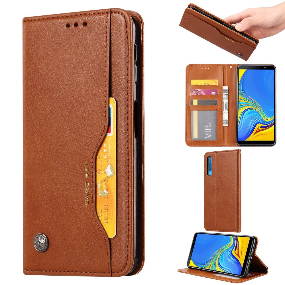 A7 2018 Flip Leather Case for Samsung Galaxy A7 2018 Case 6.0'' Card Slot Magnetic Soft Leather Cover for Galaxy A750 Fundas