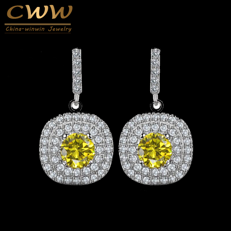 CWWZircons Lovely Round Shaped Fully Cubic Zirconis Dropping Blue Green Yellow Crystal Stones Stud Earrings For Women CZ177