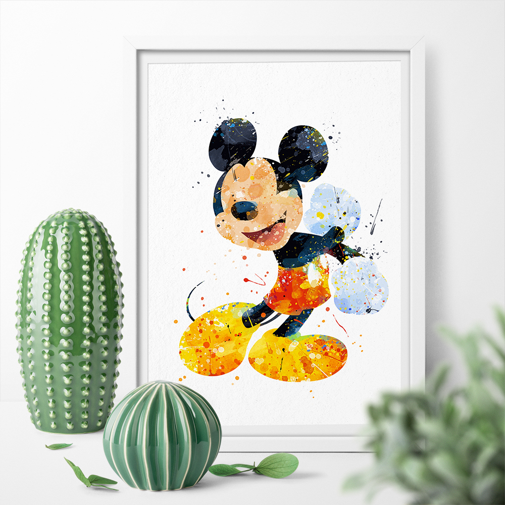 Watercolor Mickey Mouse Art Canvas Poster Print Canvas