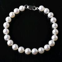 Beautiful 7 8 MM Natural White AAA Pearl BRACELET 925 S Clasp 7 5 JEWELRY 2