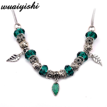 The latest gift simple necklace female new pendant fashion silver green leaves ladies charm retro hot beaded 2019