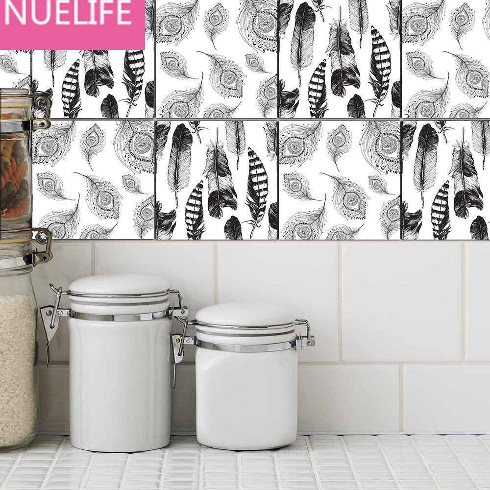 Bathroom kitchen tiles - 10pcs 22x22x0 5cm Black And White Feathers Pattern Wall Stickers Bathroom Kitchen Tiles Stickers Waterproof