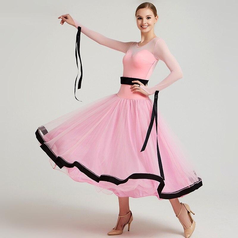Pink Women Ballroom Dress Competition Standard Dresses Spanish Costume  Dance Wear Ballroom Waltz Dress Fringe Dancing Clothes