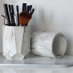 Офисные креативные держатели для ручки, кисти для макияжа, ваза, коробка для хранения с мраморным зерном, настольный контейнер, инструмент